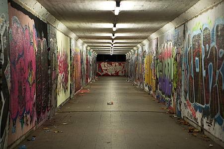 przejście podziemne, graffiti, betonu, Mural, Młodość, Spray, sztuka