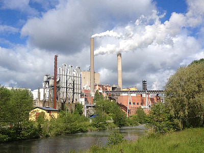 фабрика, дим, М'якоть, димохід, промисловість, забруднення, електростанція