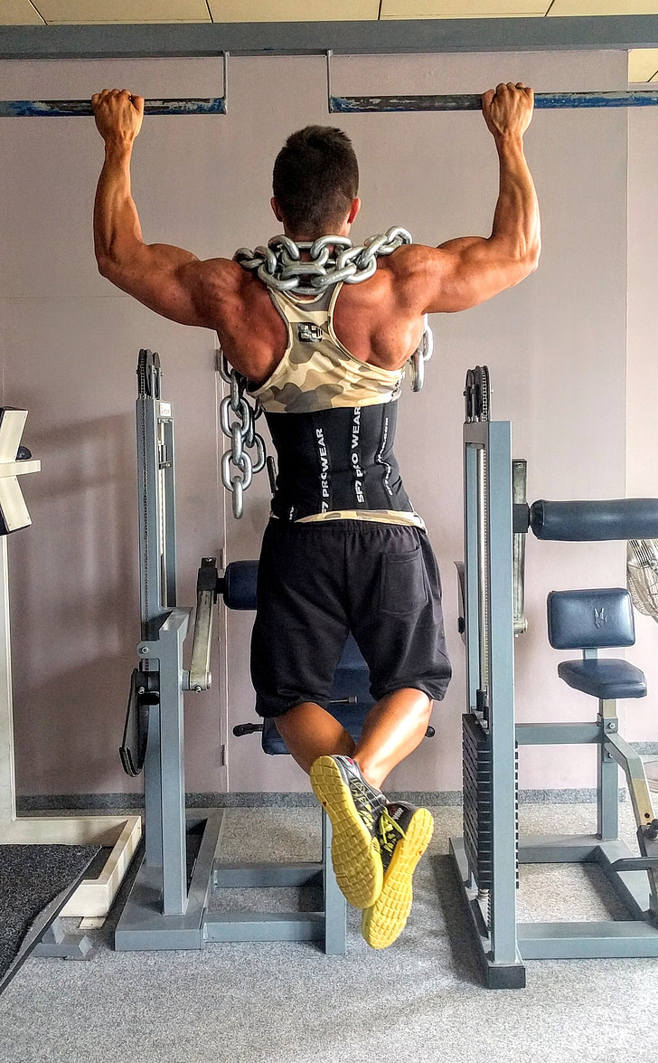 fitness, strengthening, exercise, training, muscles, man, pull-ups