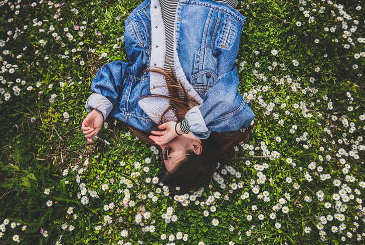green, grass, flowers, people, girl, woman, rest