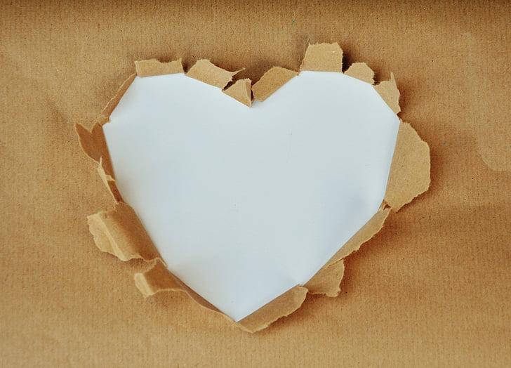 hjerte, hvid kerne, tekstboks, papir, indpakningspapir, af hjertet, hvid