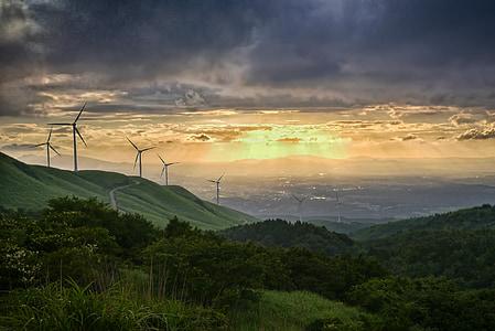 wind power generation, japan, sunset, cloud, sky, light, kumamoto