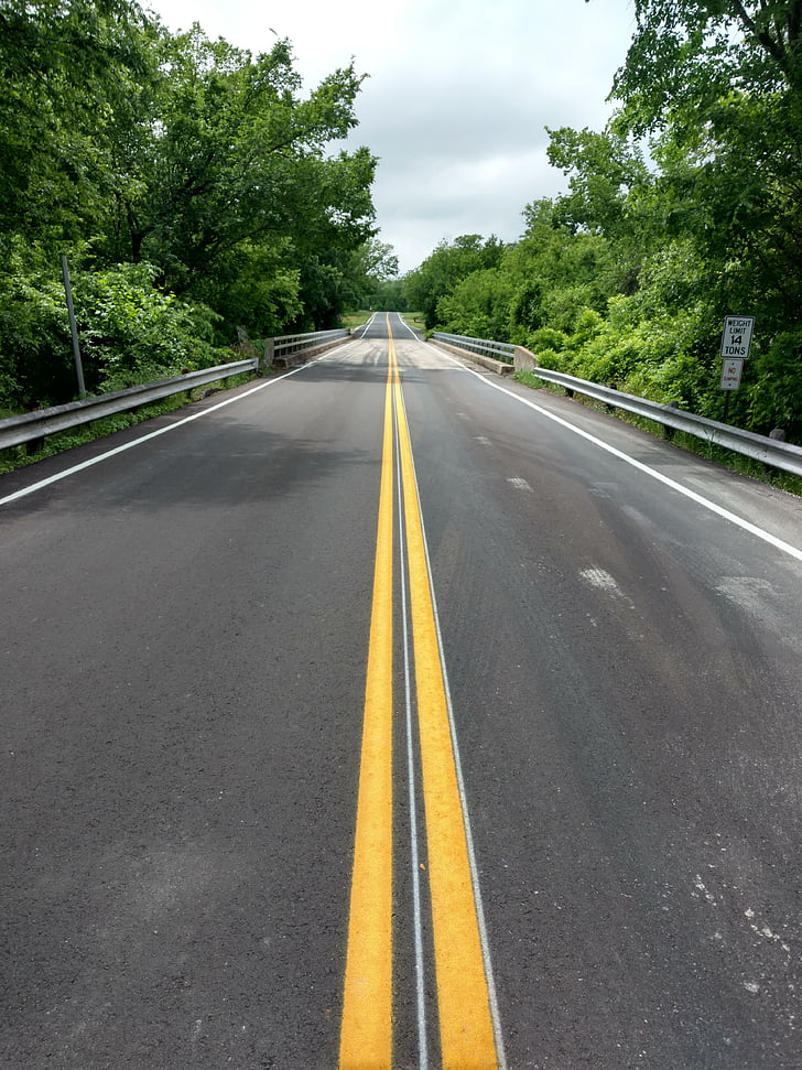 road, long road, empty, asphalt, marking, double yellow line, country