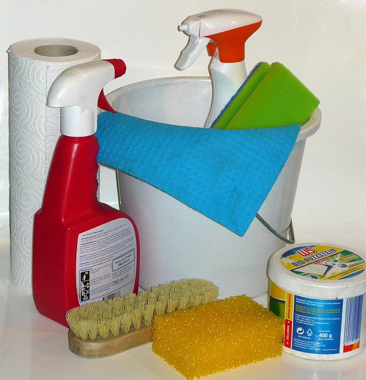 iztīriet, padarīt tīru, uzkopšanas materiāli, frühjahrsputz, tīrība
