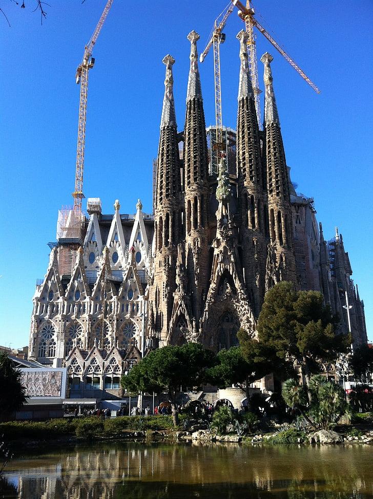 Sagrada familia, Gereja, pagi, Barcelona, Spanyol, Gaudí arcjitecture, gaya Gothic