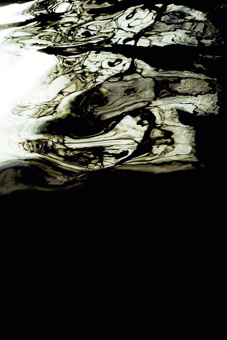líquid, l'aigua, oli, reflexió, blanc i negre, escala de grisos, natura