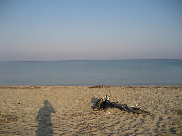 Fourka, Kreeka, mountain bike, bike, Sea, vee, Beach