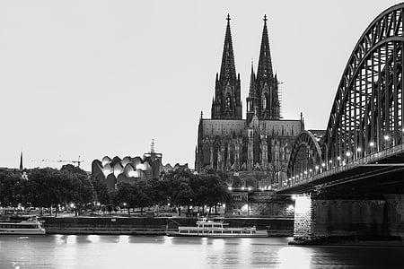 Nhà thờ Cologne cathedral, sông Rhine, Cologne, Dom, Nhà thờ, Cầu Hohenzollern, Landmark