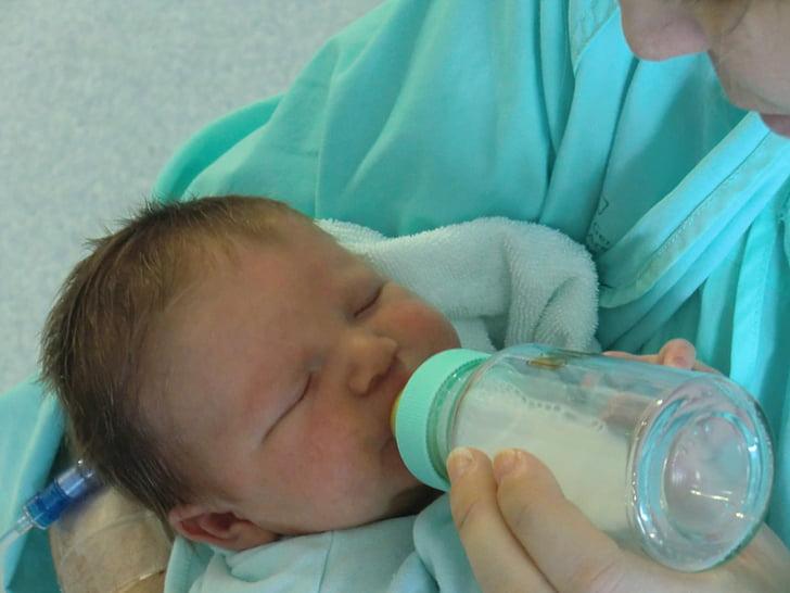 biberon, llet, nadó, nen, acaba de néixer, nadó