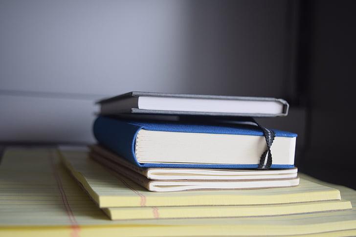 böcker, Office, anteckningar, staplade, skrivbord, Corporate, dokument