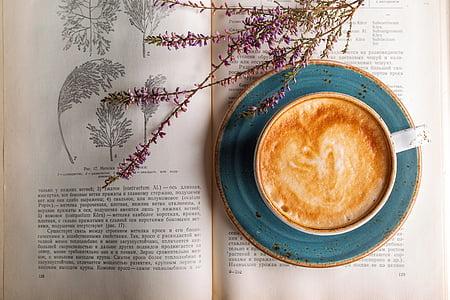 kopi, cappuccino, kafe, closeup, minuman, cangkir kopi, beraroma