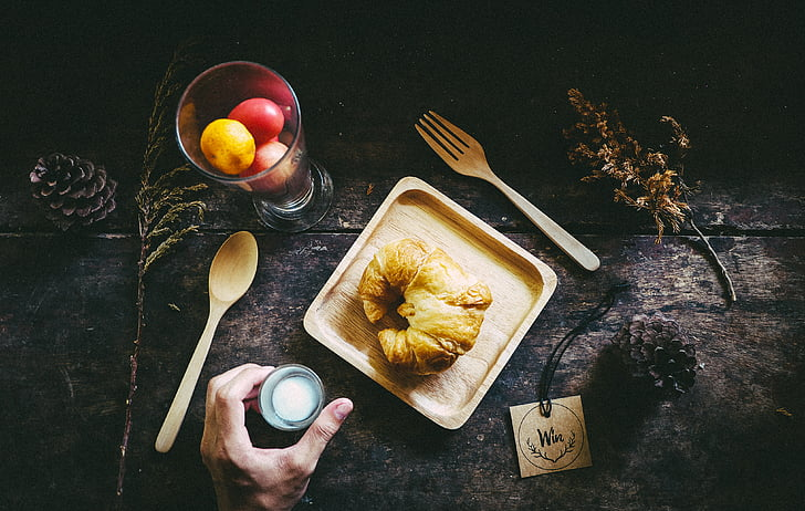 breakfast, croissant, food, fork, still-life, wooden plate, wooden table