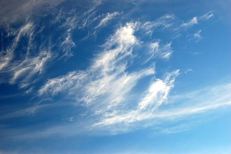nebo, modra, oblaki, oblaki obliki, oblačno