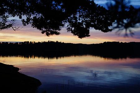 abendstimmung, Sunset, søen, Sverige, förjön sø, idyl, aftenhimmel