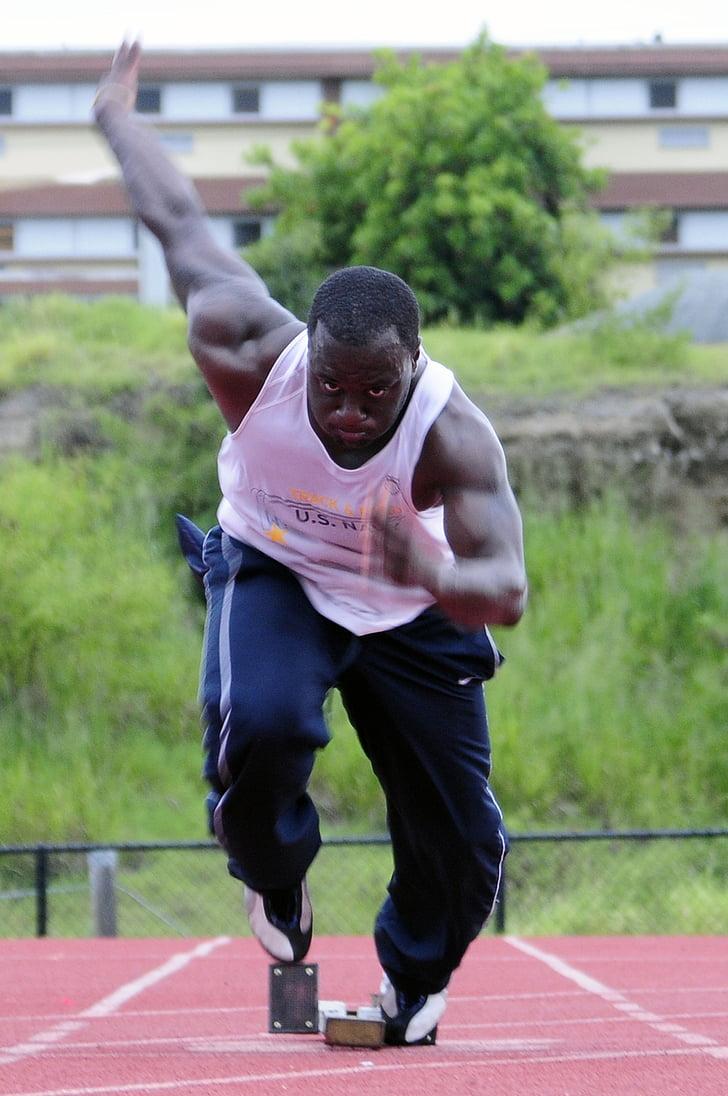 atleta, formació, pista, cursa, Inici, corredor, mascle