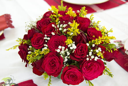 flower bouquet, rose, flower, red flower, red rose arrangement, wedding flowers, arrangement