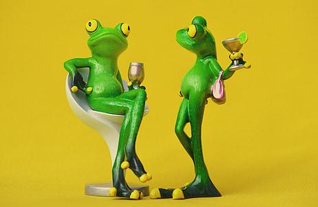 granota, cadira, acollidor, per a dos, beguda, vi, remullat