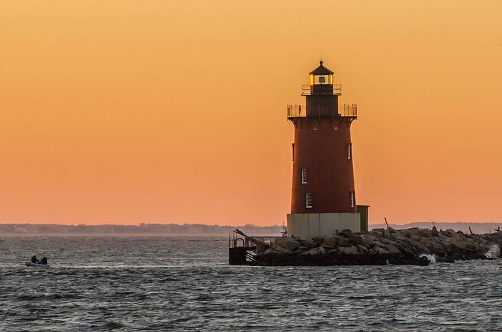 Far, Delaware, capçalera d'escullera, EUA, Badia, Costa, posta de sol