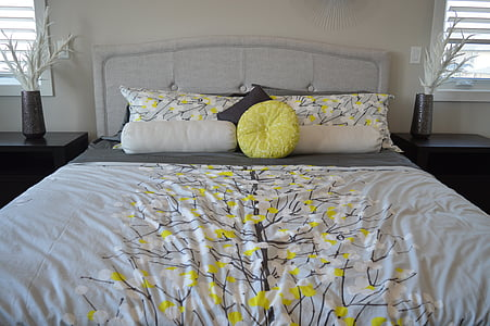 bed, pillows, bedroom, bedding, comfortable, sleep, relaxation