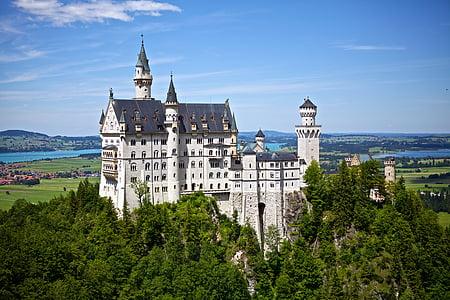 neuschwanstein, castle, germany, disney, landmark, architecture, europe