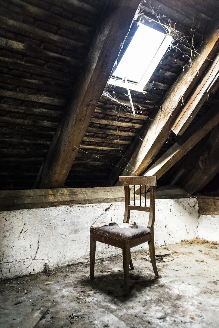 fenêtre de, chaise, grenier, Page d'accueil, vieux, maison ancienne, bâtiment