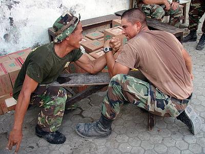 arm wrestling, military men, fun, sport, muscle, power, camaraderie