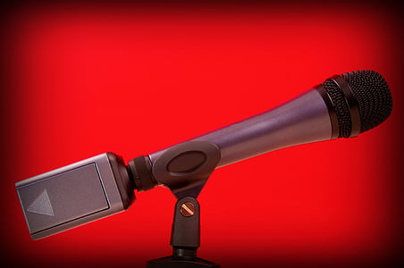 microphone, red, microphone stand, performance, entertainment, announce, stage