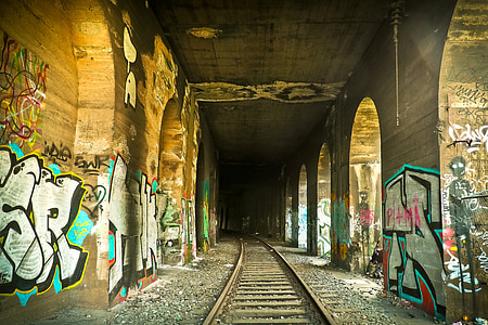 lost places, tunnel, gleise, railway, railroad track, seemed, railway tunnel
