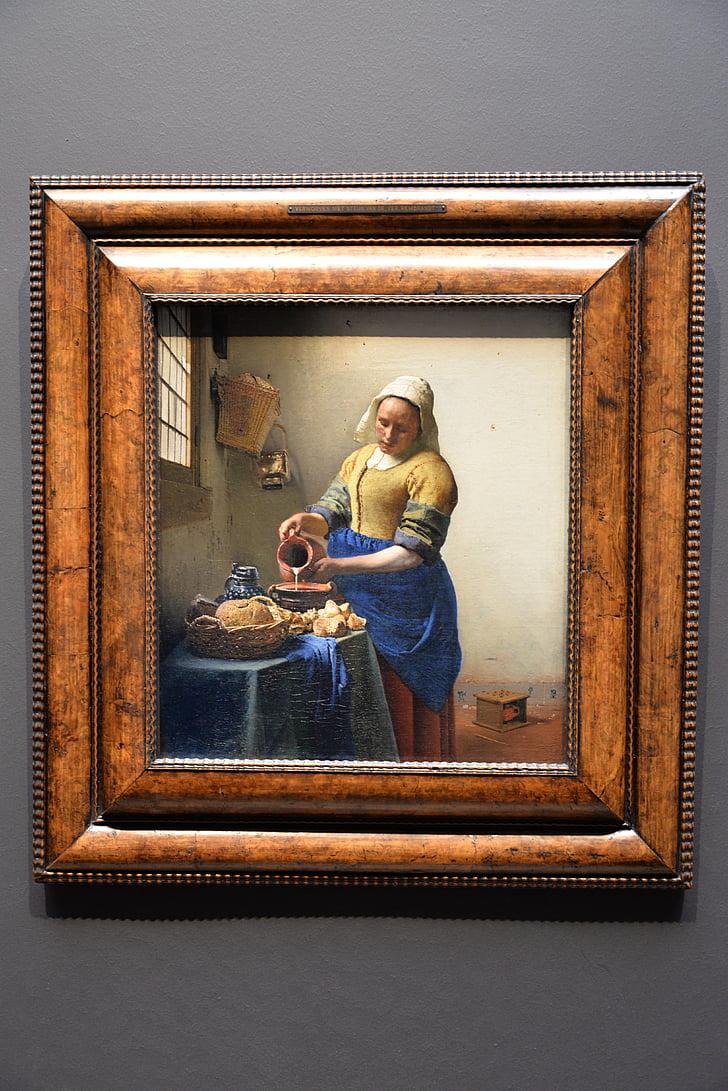 Vermeer, meieriprodukter, maleri, lys, gullalderen, Holland, mestere of light