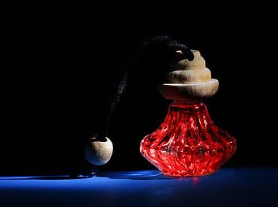 fragància, ampolla, vermell, cosmètica, ampolla de vidre, higiene, Perfum