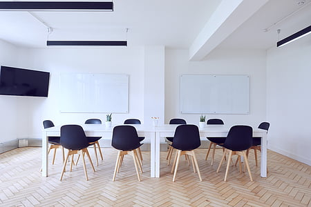 chairs, contemporary, empty, indoors, interior design, room, table