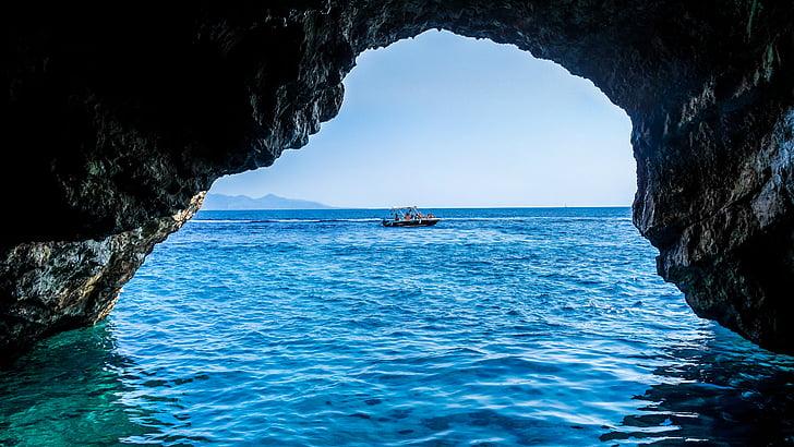 cave, sea, blue caves, greece, zakynthos, ocean, blue