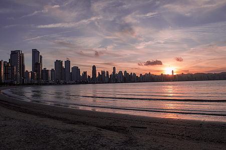 plage, ville, eau, océan, Lac, voyage, été