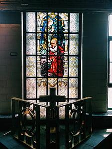 Gebrandschilderd glas, religie, licht, Glasraam, gekleurd, glas, kerk