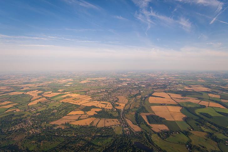 aerial view, clouds, farmland, horizon, land, landscape, pattern