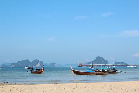 escena de platja, platja, embarcacions, Mar, cel, blau, v. platja