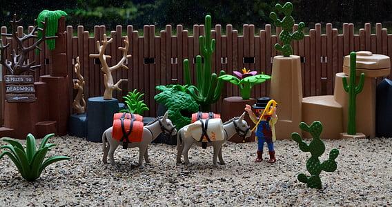Playmobil, Länsi, Yhdysvallat, Amerikka, aasi, Muuli, kullankaivaja