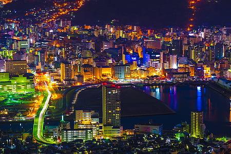 night view, nagasaki, japan, kyushu, the world's three major night view, skyline, night
