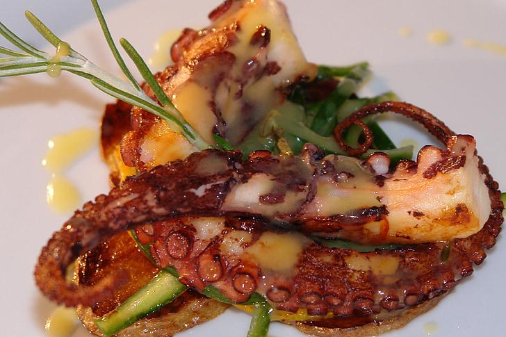 морски дарове, октопод, море, храна, Ресторант, гурме, готвене