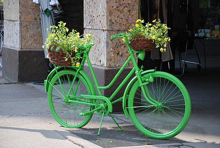 Bike, Zelená, kvety, Farebné koleso
