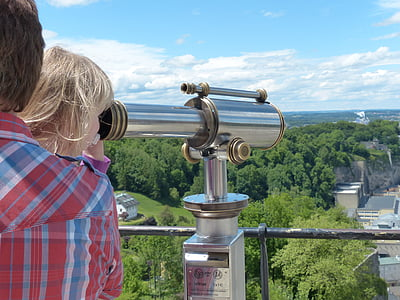 man, child, look, search, personal, telescope, by looking