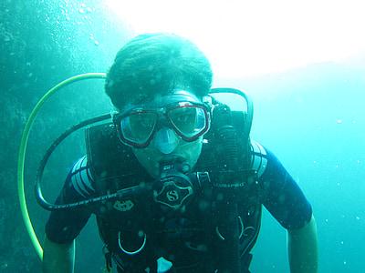 scube ronilac, ronjenje, Maldivi, more, oceana, ronilačkom odijelu, Dubinsko ronjenje