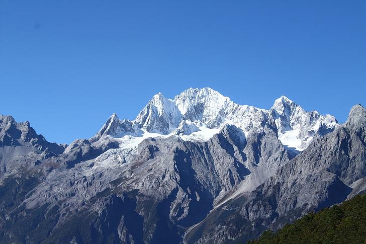 리 지앙, 옥 룡 설 산, 야크 초원, 산, 자연, 눈, 산의 정상