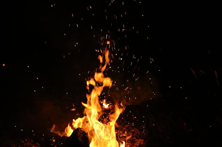 põletamine, tulekahju, leek, öö, Fire - loodusnähtusest, soojuse - temperatuuri, punane