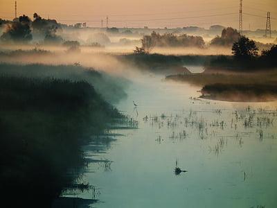 Мряка, Природа, Річка, води, Захід сонця, краєвид, ранок
