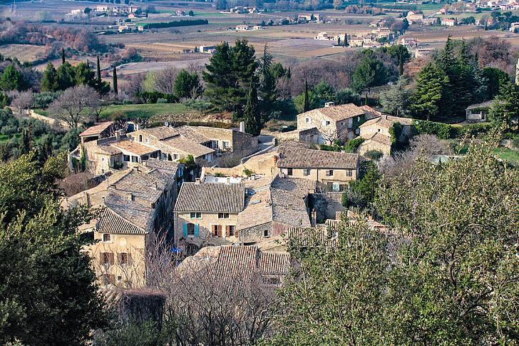 paisatge, cases, poble, Provença