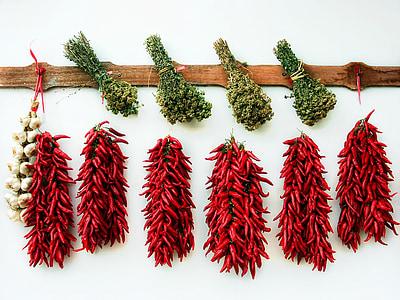 khô các loại thảo mộc, ớt, tỏi, rau oregano, gia vị, ý, ớt