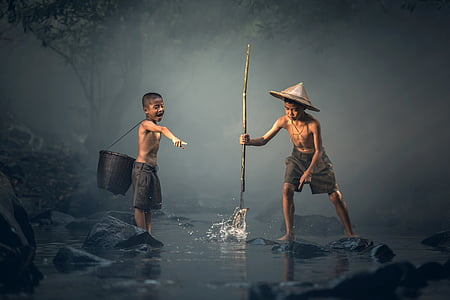 gyermekek, halászati, a tevékenység, Ázsia, háttér, ragadozó, fiúk