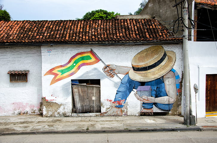 city, colombia, caribbean, cartagena, graffiti, home, facade