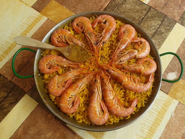 fideua, Valencia, paella, okusno, kozice, tradicionalni, sredozemski
